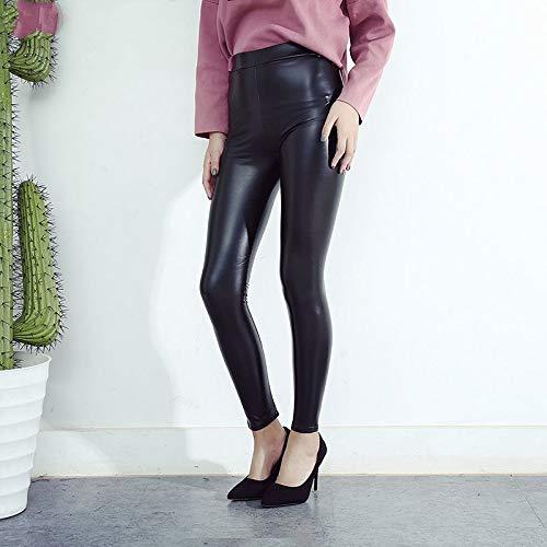 GDRFHJZ herfst lente vrouwen slim sknniy zwart PU leder leggings potlood broek zonder scheuren Mi maat leggings fleece broek dames