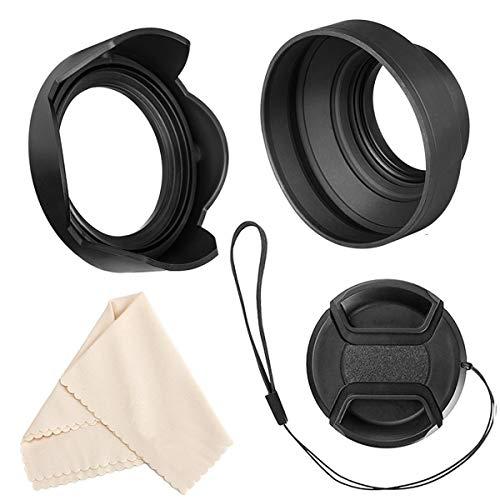 Veatree 58mm Gegenlichtblenden Set, Zusammenklappbare Gummi Gegenlichtblenden + Reversibel Streulichtblende + Objektivdeckel