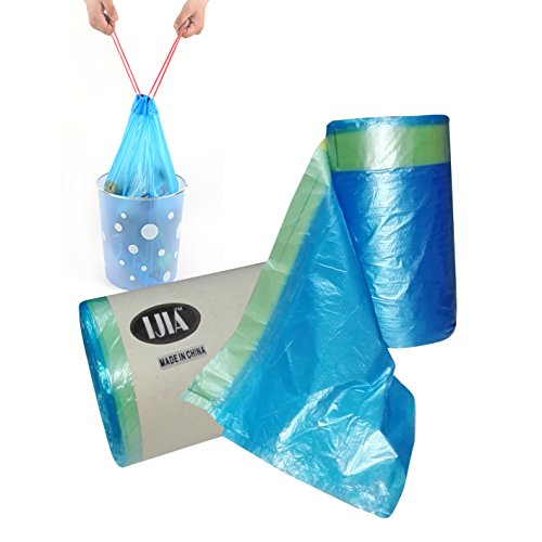 Drawstring Trash Bags - 19 Liter / 5 Gallon Used in Office & Kitchen - 100 Count