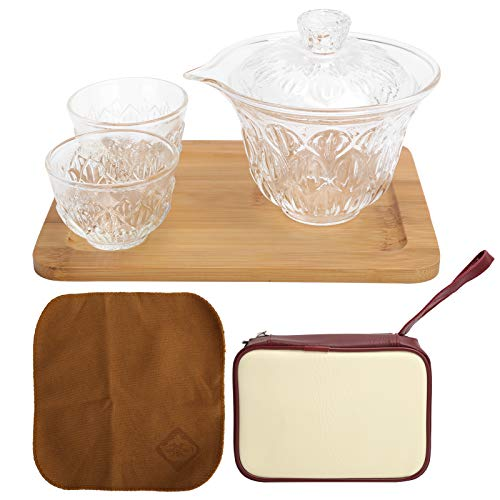 Juego de té de viaje Taza de té de Kung Fu de vidrio resistente al calor con paño de limpieza Caja de almacenamiento Tapa 3 tazas Para usar en hogares Oficinas Hoteles Cafés Bares o clubes