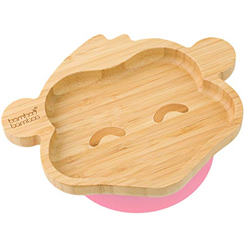 bamboo bamboo  Baby Toddler Monkey Suction Stay Put Feeding Plate (Pink)