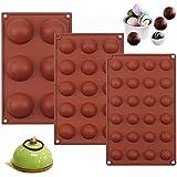 Jan eYi - Juego de 3 moldes de silicona semiesféricos para hornear, juego de moldes de silicona para tartas, juego de moldes de silicona, 6 agujeros, 15 agujeros, 24 agujeros semicirculares