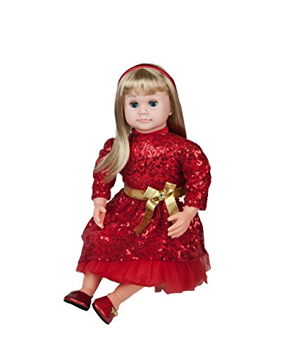"""Ask Amy 22"""" Talking Dolls for Girls Age 3 and Up - Smart Interactive Kids Learning Toys, Blonde Baby Doll Red Dress"""