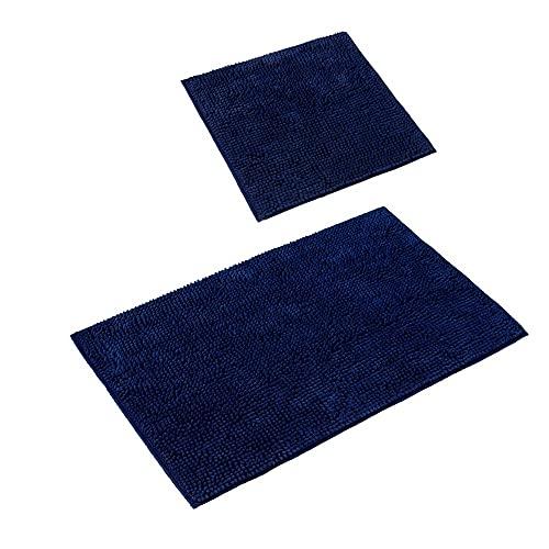 PANA 'Paris' Badeteppich-Set • Flauschige Vorleger für Badezimmer und WC • Badteppich rutschfest & waschbar • Chenille Badematte • Set: 45 x 45 cm ohne WC Ausschnitt + 50 x 80 cm • Farbe: Blau