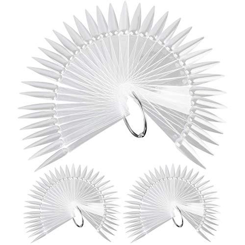 150pcs Clear Nail Swatches Sticks, FITDON Transparent Stiletto Nail Art Tips Practice Sticks Fan Shaped Plastic Nail Polish Board Display