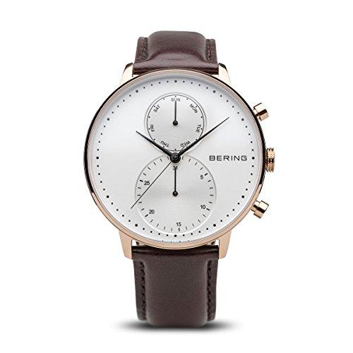 BERING Time 13242-564 Herrenarmbanduhr Classic Kollektion mit Lederband und kratzfestem Saphirglas.Designed in...