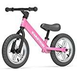 Swagtron K3 12' No-Pedal Balance Bike for Kids Ages 2-5 Years | Air-Filled Rubber Tires | 7 lbs Lightweight | 12'~16' Height Adjustable Seat | ASTM-Certified (Pink)