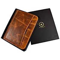 Aaron Leather RFID Protected Leather Portfolio (Caramel Brown)