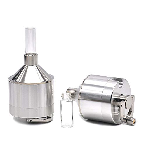 Funnel Shape Metal Powder Herb Tobacco Spice Mill Funnel Grinder Crusher with Snuff Hookahwith Glass Vial Storage Container