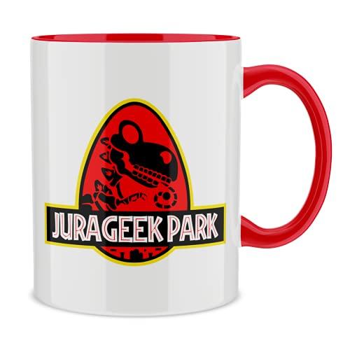 OKIWOKI Taza con asa Roja e Interior Rojo Parodia de Yoshi - Jurassic Park- Yoshi VS Jurassic Park (Taza de Primera Calidad - Impresa en Francia - Réf : 431)
