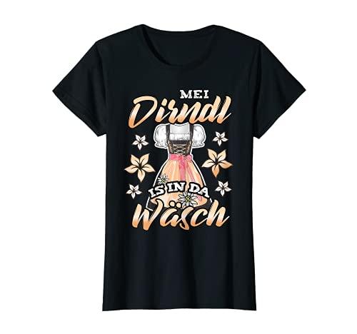 Damen Mei Dirndl is in da Wäsch Ersatz Trachtenshirt Oktoberfest T-Shirt