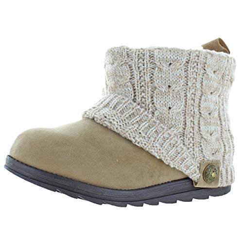 MUK LUKS Patti Women's Cable Knit Cuff Booties Boots Tan Size 8