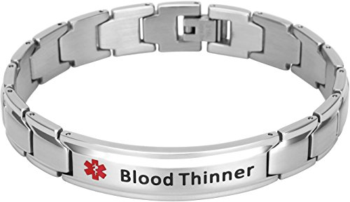Smarter LifeStyle Elegant Surgical Grade Steel Medical Alert ID Bracelet For Men and Women (Men's, Blood Thinner)