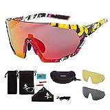 FREE SOLDIER Occhiali da Sole Polarizzati con 3 Lenti Intercambiabili per Uomo Donna Occhiali Ciclismo UV400 Occhiali Bici Sportivi Leggeri in Escursionismo Vela Pesca(Colorato+Rosso-Arancio)