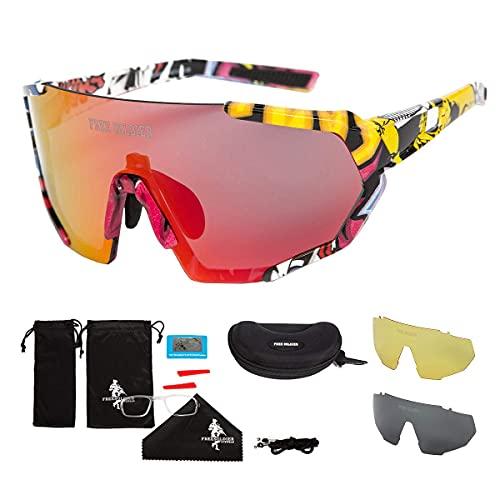 occhiali da sole ciclismo FREE SOLDIER Occhiali da Sole Polarizzati con 3 Lenti Intercambiabili per Uomo Donna Occhiali Ciclismo UV400 Occhiali Bici Sportivi Leggeri in Escursionismo Vela Pesca(Colorato+Rosso-Arancio)