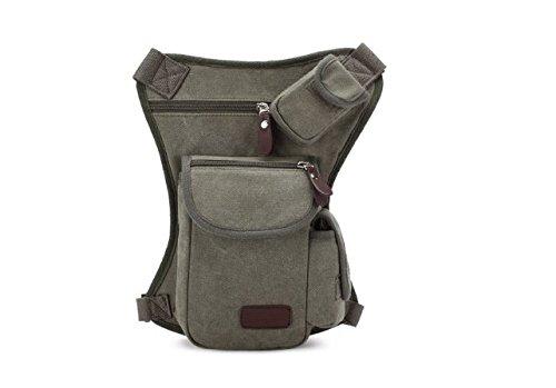 Moaeuro borsa multifunzione, esterno in cotone sport sacca da gamba tela marsupio soldi marsupio, Army Green