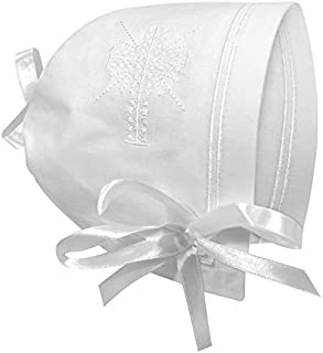 Keepsake Cutwork Handkerchief Christening Bonnet with Straight Hem, White