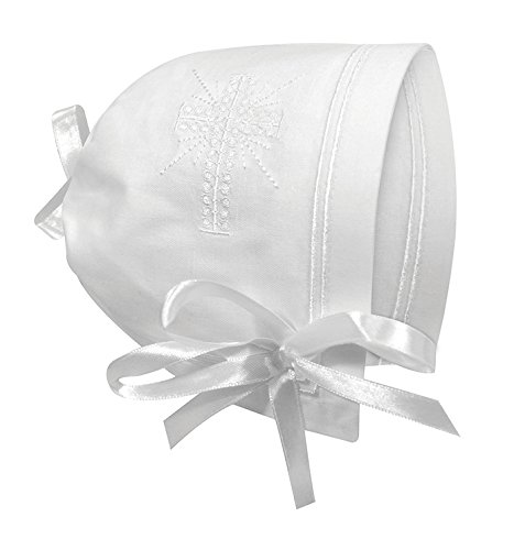 Stephan Baby Keepsake Cutwork Handkerchief Christening Bonnet with Straight Hem, White