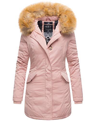 Marikoo Damen Winter Jacke Parka Mantel Winterjacke warm gefüttert B362 [B362-Karmaa-Rosa-Gr.L]