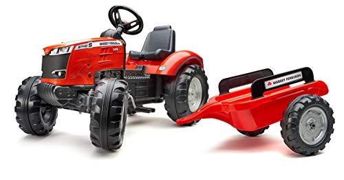 Falk 4010AB - Tractor con Pedales Valtra con Remolque, a Partir de 3 años, Fabricado en Francia, Volante direccional con bocina
