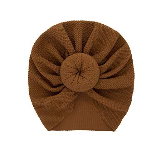 LABIUO 12 Couleurs Style Indien Noeuds Bonnet Bébé, Mode Chapeau Bandeau Turban Noeud Mou Tête Wraps pour Bébé Filles Bonnet Nouveau-Né Tout-Petits pour 0-2 Ans(Marron,Taille Unique)