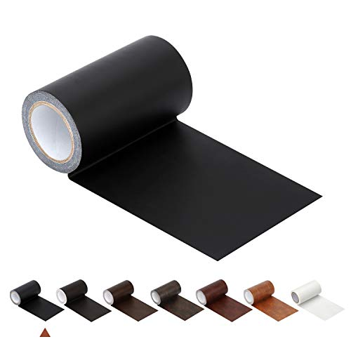 """Leather Repair Tape Patch Leather Adhesive for Sofas, Car Seats, Handbags, Jackets,First Aid Patch 2.4""""X15' (Black)"""