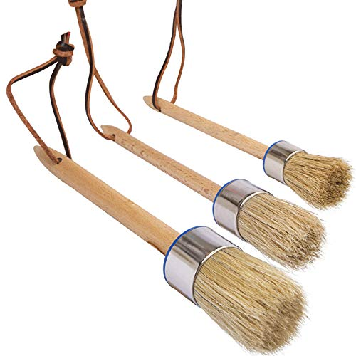 Chalk Paint Brush Set – 3 Pcs Chalk Paint for Furniture Natural Bristle Painting & Waxing Brushes, Painting Stencil, DIY Furniture, Home Decor, Card Making, DIY Art Crafts