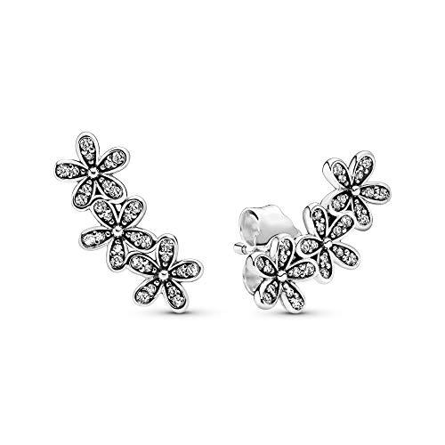 Pandora Jewelry Daisy Flower Stud Cubic Zirconia Earrings in Sterling Silver