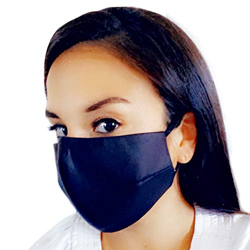 Women Black Leather-like Face Mask -Filter Pocket Included/Nose Wire Face Mask