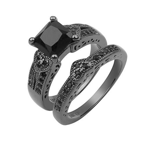 TrifyCore Anillos de Moda de Oro Redondo Negro de Diamantes de Talla halo Anillos de Compromiso Anillos de Novia Anillo de Matrimonio Determinado de la joyería 1Ponga 8 Tipo
