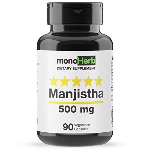 Manjistha 500 mg - 90 Vegetarian Capsules - Supreme Manjistha Root Extract - Rubia Cordifolia