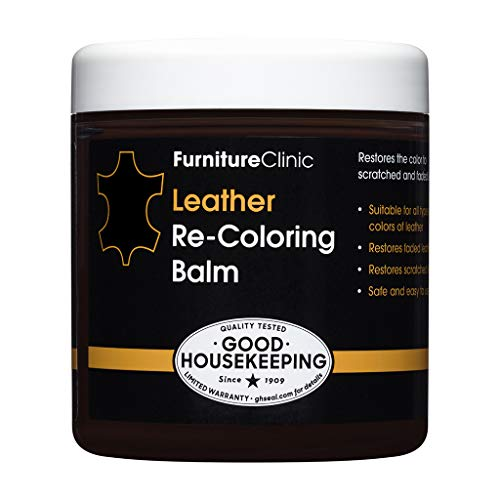 Furniture Clinic Leather Re-Coloring Balm | Non Toxic Leather Color Restorer for Furniture | 16 Colors of Leather Repair Cream (Black), 8.5 fl oz