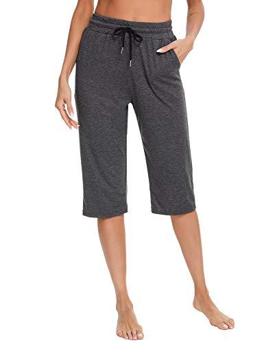 Sykooria Pantalones Deportivos de Algodón Mujer Pantalones Casuales para Correr 3/4 Pantalones de Cintura Alta para Mujer con Cordón Pantalones de Pijama Cómodos y Transpirables-Gris Oscuro-XL