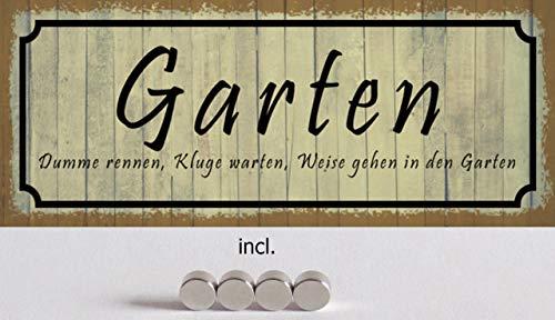 Generisch Plaque en tôle incurvée 27 x 10 cm avec 4 aimants pour Le Jardin et Le Jardin