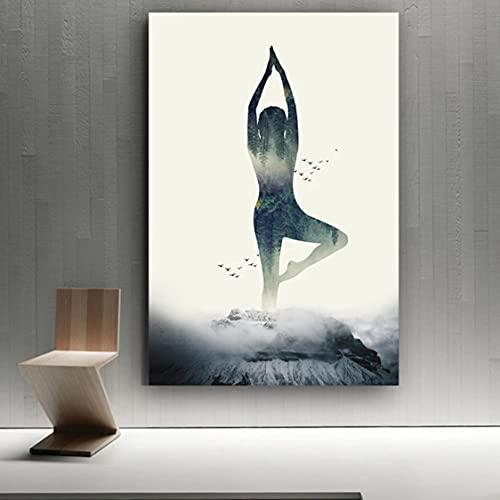 Danjiao Póster De Lienzo De Bosque De Yoga Minimalista Moderno Para Mujer, Impresiones Artísticas De Pared, Pintura Geométrica, Cuadros Nórdicos Para Decoración Del Hogar Sala De Estar Decor 60x90cm