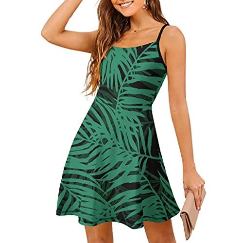 Vestido sin mangas para mujer, vestido de playa, vestido de verano, con plantas hawaianas, hojas verdes, palmera, ajustable, tirantes finos, vestido de tiempo libre, Blanco, XXL