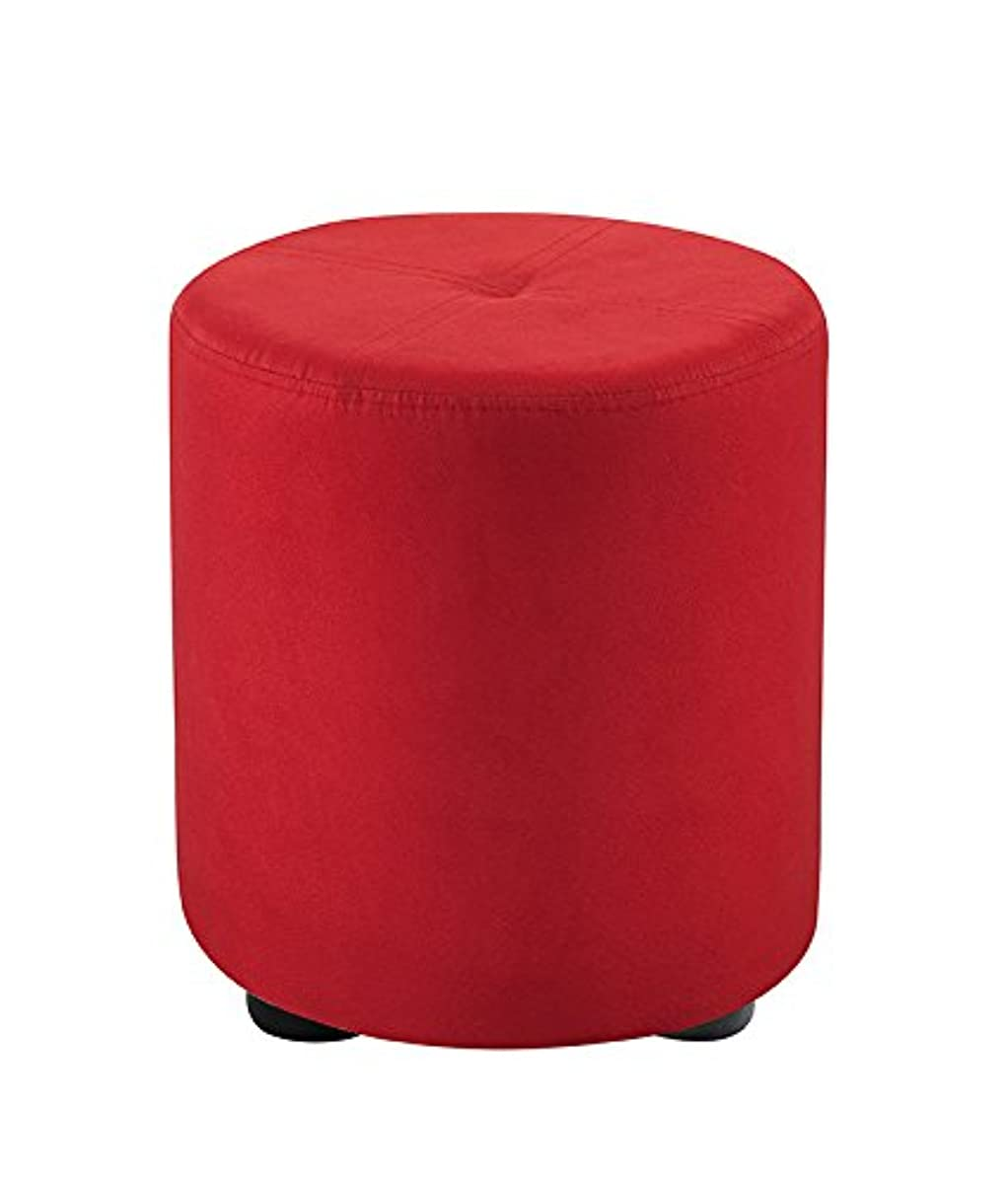 Kings Brand Furniture Round Ottoman Stool (Red Microfiber)