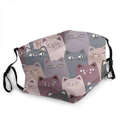 Nicegift Lustige graue Katzen wiederverwendbare Gesichtsmaske Sturmhaube Waschbare Outdoor-Nasenmundabdeckung Mode f¨¹r Unisex-M?nner Frauen