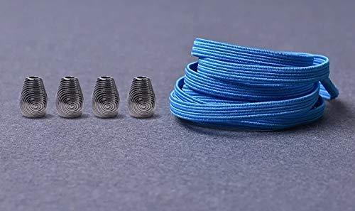 RSS schoenveters 1 paar metalen kop platte veters geen stropdas veters kinderen volwassenen snel veters elastisch turnschoenen kant 21 kleuren lakken baskets (kleur: hemelsblauw)