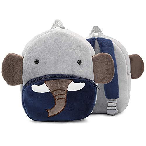 Mochila de peluche para niños con diseño de animales, para niños y niñas Gris elefante