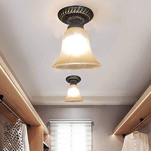 Luckly Moderno Plafón Rústico Lámpara de Techo de Vidrio Mate para Escaleras Balcón Salón Comedor Dormitorio luz ∅15*H18CM Jute Vidrio Pantalla Estilo Elegante Plafón de Techo E27