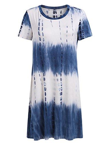 Romwe Loose Casual Short Sleeve Tie Dye Ombre Swing T-Shirt Tunic Dress Navy S