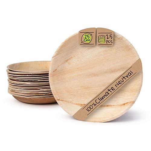 BIOZOYG Palmware Haute qualité d'assiette en Feuille de Palmier I 25 pièces d'assiettes Ronds du Feuille Palmier Ø25 cm I Bio jetable Vaisselle pour fête Rapidement décomposable