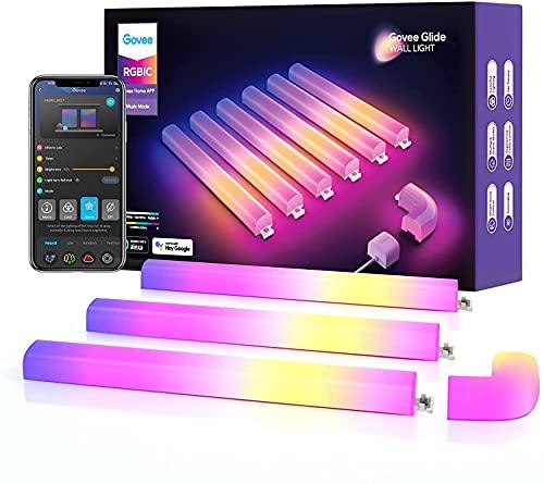 Govee Glide Wall Light, Smart RGBIC Wandleuchte funktioniert mit Alexa und Google Assistant, WiFi LED Lightbar für Gaming, Mehrfarben, Musik Sync, mit über 40 dynamische Szenen, 6 Stücke und 1 Ecke