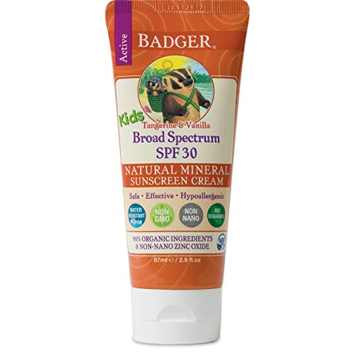 Badger - SPF 30 Kids Sunscreen Cream with Zinc Oxide for Face and Body, Broad Spectrum & Water...