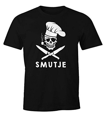MoonWorks Herren T-Shirt Koch Smutje Pirat Fun-Shirt schwarz L