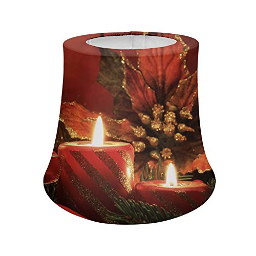 Cozeyat Christmas Red Candles Design Home Lamp Shade Nightstand Desk Lamp Bedside Lamp Shades for Living Room, Bedroom, Office, College Dorm