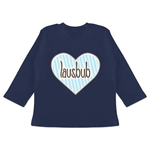Oktoberfest & Wiesn Baby - Lausbub Herz - 6/12 Monate - Navy Blau - Geschenk - BZ11 - Baby T-Shirt Langarm