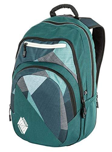 Nitro Stash Rucksack Schulrucksack Schoolbag Daypack Damenrucksack Schultasche schöne Rucksäcke Alltag Fahrradtasche, Fragments Green, 29L
