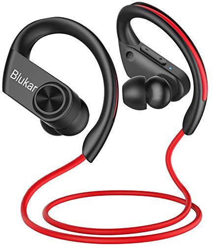 Blukar Cuffie Bluetooth Sport, Auricolari Bluetooth 5.0 in Ear con 16 Ore di Tempo di Utilizzo, IPX7 Impermeabili, Riduzione del Rumore del Microfono HD, Cuffie Stereo HiFi, Correre Fitness